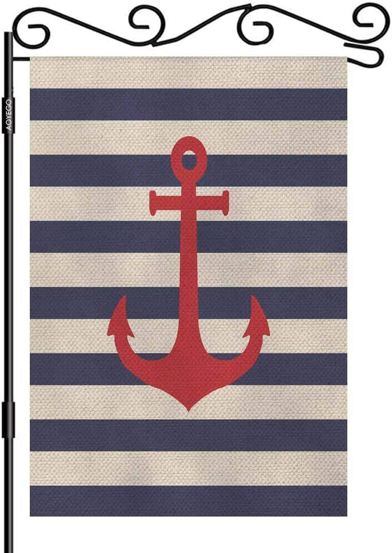 AOYEGO Anchor Garden Flag Small Vertical Double Sided 12.5 x 18 Inch Striped Marine Vector Background Burlap Yard Outdoor Decor