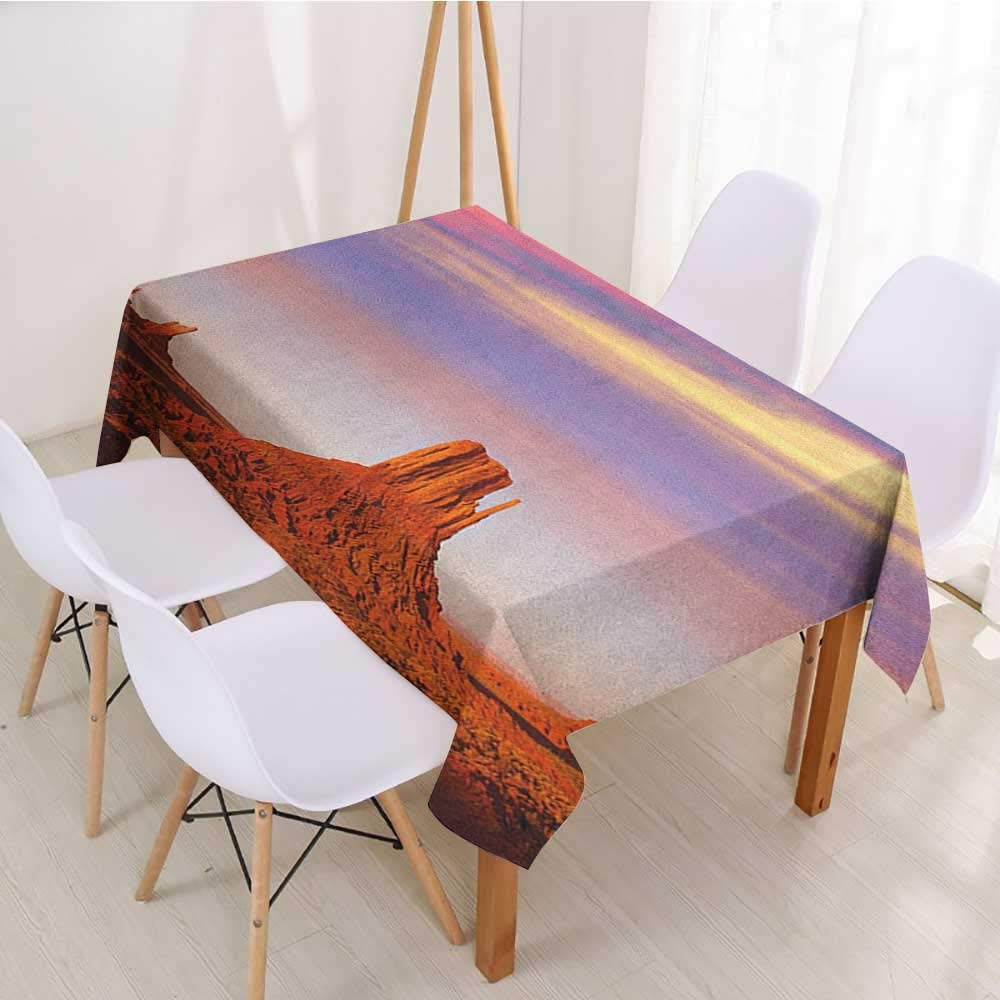 Water washable tablecloth United States,Monument Valley West Mitten and Merrick Butte Sunset Utah Desert,Dark Orange Pink Blue,for Home & Office & Restaurant Table Tea Table 60''x84''inch by Wendell Joshua