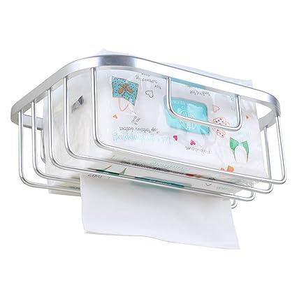 Autoadhesivas papel higiénico soporte de almacenamiento, espacio aluminio taladrar dispensador pañuelos percha soporte de pared