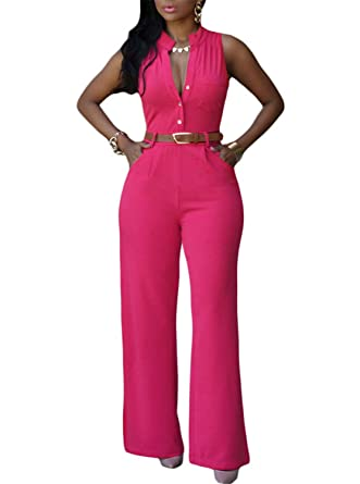 ae63766ae94 Missrooney Jumpsuit Long Pants Women Rompers Sleeveless XXL V-Neck New Belt  Solid Sexy Night