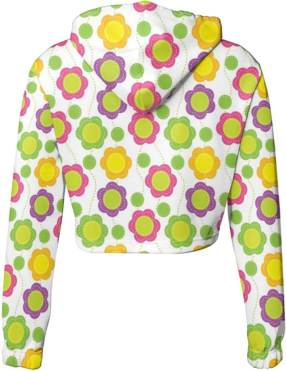 GULTMEE Womens Cropped Hoodie,Patchwork Style Pattern with Geometrical Abstract Dotted Lines Applique Design,S-XL