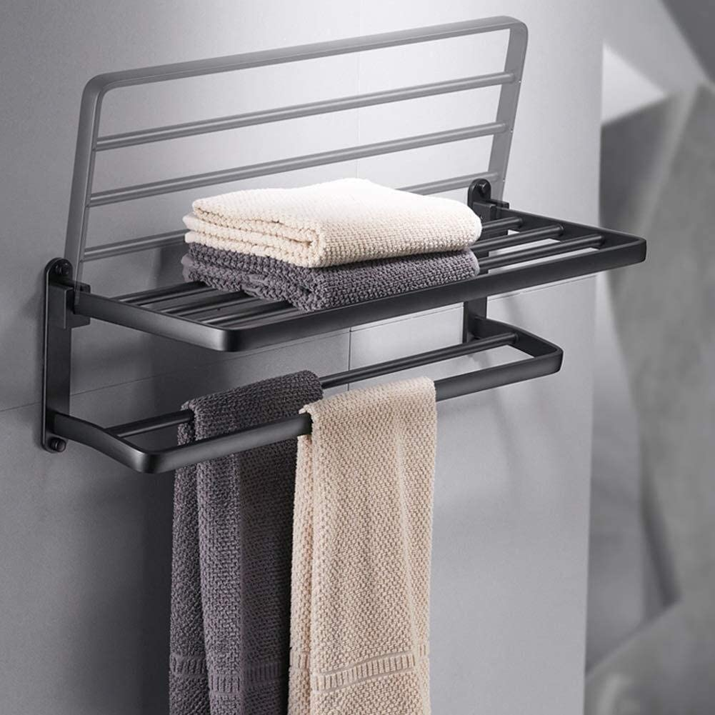 Bathroom Rack Set Black Bathroom Shelf Wall Shelf Rectangular for Hotels with Towel Rail /  60x23x18cm Creative Bathroom Shelf