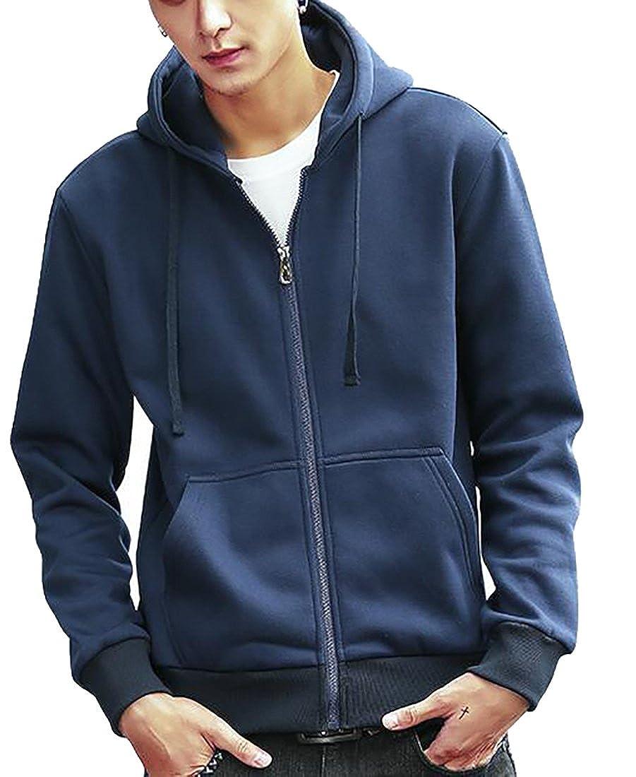 pujingge Mens Long Sleeve Sweatshirt Zipper Slim Fit Full-zip Hoodie Jacket