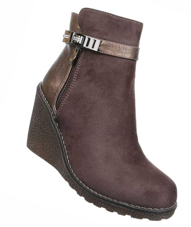 Damen Boots Schuhe Wedges Keil Stiefeletten mit Strass Schwarz Braun 36 37 38 39 40 41 Braun