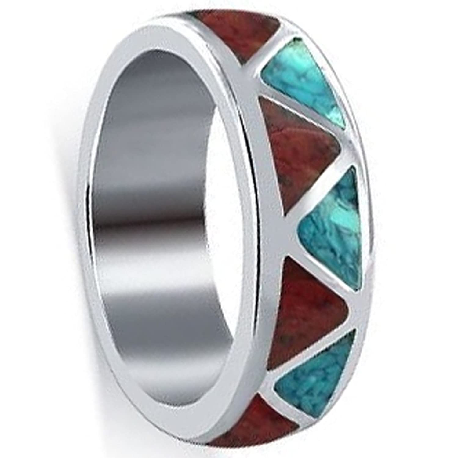 Gem Avenue Unisex 925 Sterling Silver Turquoise With Coral Gemstone