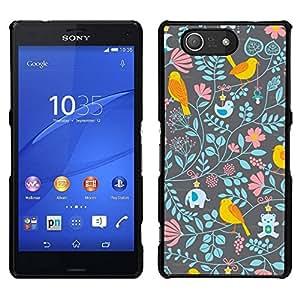 // PHONE CASE GIFT // Duro Estuche protector PC Cáscara Plástico Carcasa Funda Hard Protective Case for Sony Xperia Z3 Compact / Floral Wallpaper Pattern Teal Pink /