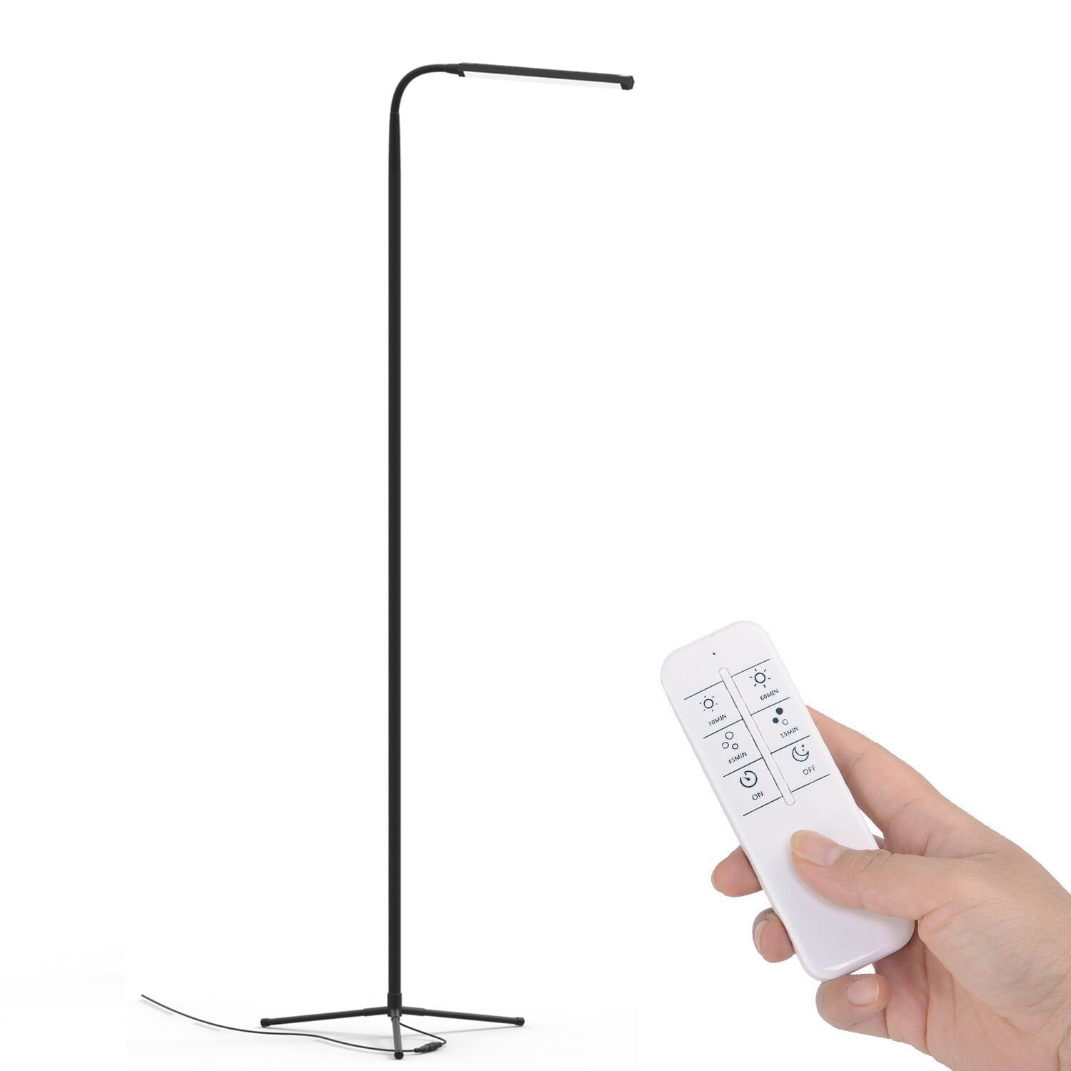 Ottlite t92bnt vero floor lamp brushed nickel floor lamps youkoyi f9 modern dimmable touch led floor lamp for living room bedroom with remote control geotapseo Image collections