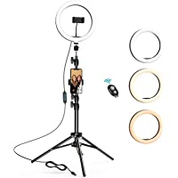 10.2 inch Selfie Ring Light with Tripod Stand & 2 Phone Holders, LETSCOM Dimmable Led Beauty… photo