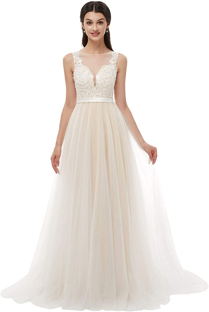 size 7 order hot new products Leyidress Beach Wedding Dress A-Line Bridal Gown Ivory Pearl Tulle Women  Dress