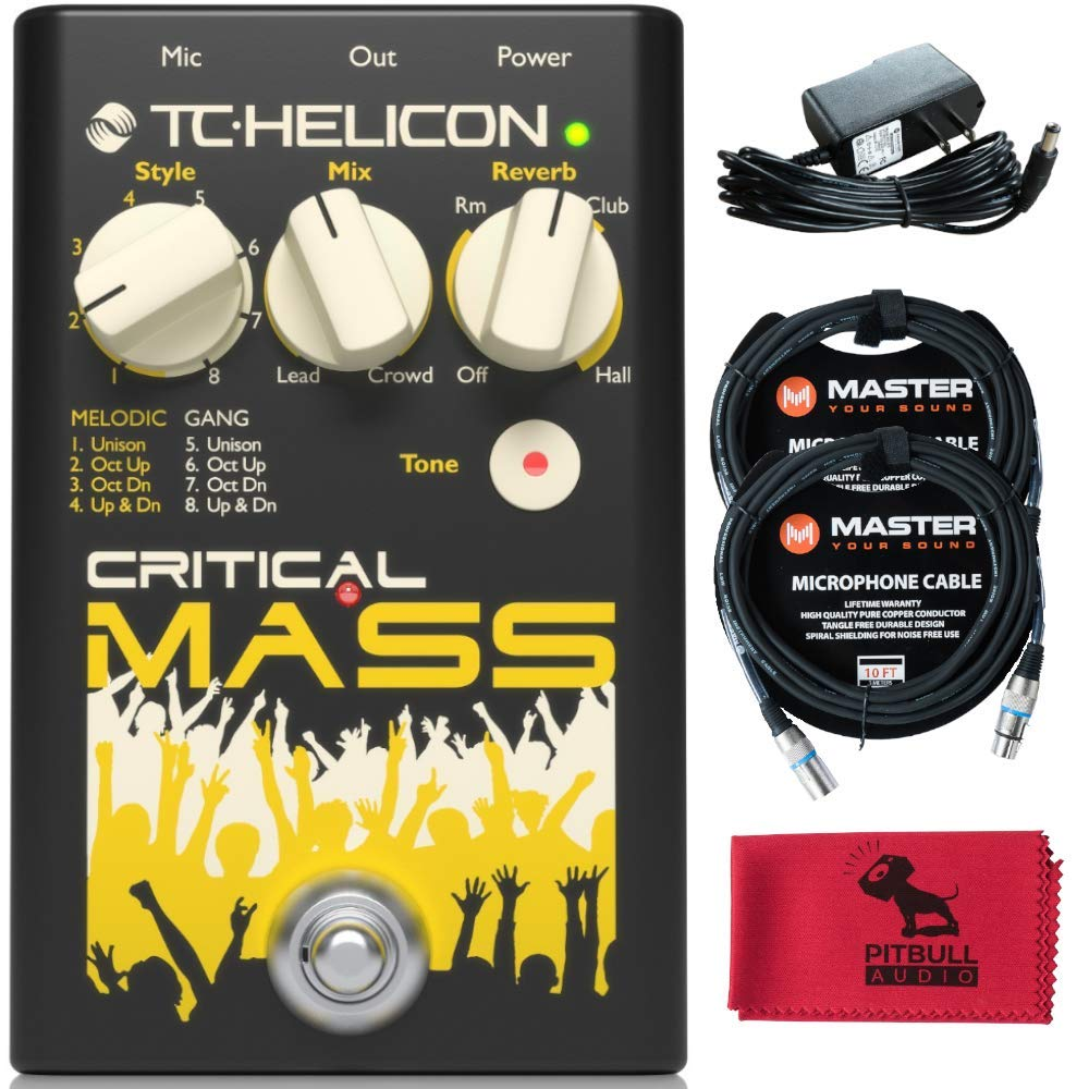 TC Helicon Critical Mass Vocal Effects Pedal with Two Master XLR cables, Power supply, and PitbullAudio Microfiber Cloth