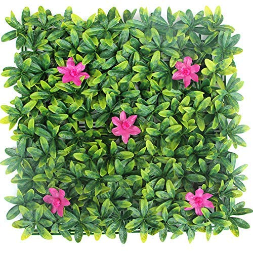 Porpora Artificial Hedge Plant, Greenery Panels Suitable for Both Outdoor or Indoor use, Garden, Backyard and/or Home Decorations, Azalea Leaf with Pink Flower, 20 x 20 Inch (12 Pack)