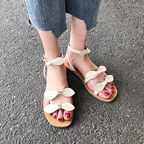 YMFIE de Suela Verano Calzado en Cómodo de Sandalias Señoras Simple Dulces Toe Playa Moda Decorativos Arcos b Antideslizante x8xwU