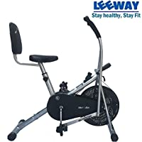 Leeway Air Bike with Back Support| Exercise Cycle| Moving Handle Gym Bike| Cardio Fitness Work Out| Cross fit Equipment| Dual Action Airbike with Back Rest - Silver