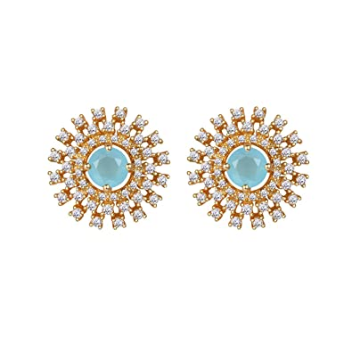 3f07c01acbbc5 Daisy Earrings Wedding Jewelry Yellow Gold Cubic Zirconia Aquamarine ...