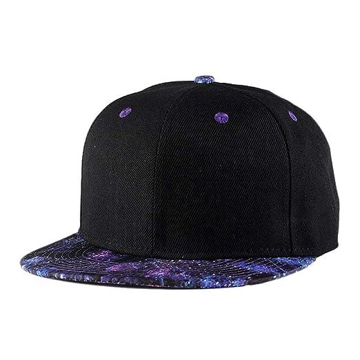 Quanhaigou Purple Galaxy Snapback Hat Unisex Trucker Hat Hip Hop Plaid Flat  Bill Brim Adjustable Baseball 6d158a84bb8