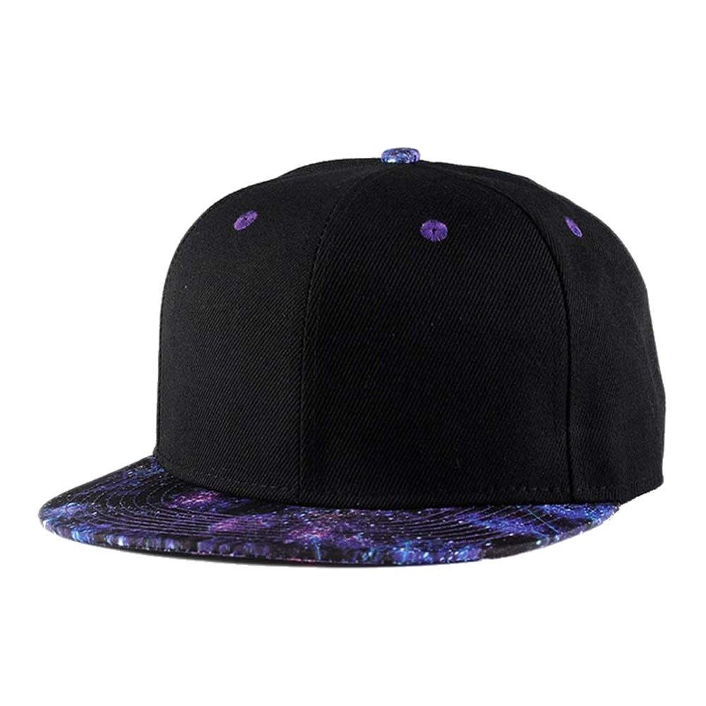 2302c83a6ea Galleon - Quanhaigou Purple Galaxy Snapback Hat Unisex Trucker Hat Hip Hop  Plaid Flat Bill Brim Adjustable Baseball Cap, Black Purple, One Size