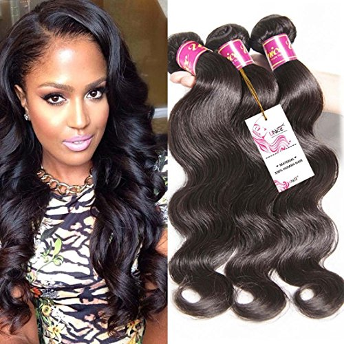 Unice Hair 16 18 20inch Brazilian Virgin Human Hair Weave 3 Bundles Deal Brazilian Body Wave Hair Weft Extensions Natural Color by UNICE