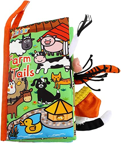 Fishy Tails Non-Toxic Fabric Baby Early Education Toys Activity Crinkle Animals Cloth Book for Toddler Infants and Kids LOHOME Soft Cloth Books Perfect for Baby Shower