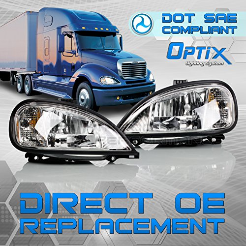 Optix Autolabs 2004-2016 Freightliner Columbia Headlight - Driver Passenger Side Pair - Direct OEM Replacement Lamp Housing For 2004-2016 Columbia - Bulbs Not Included