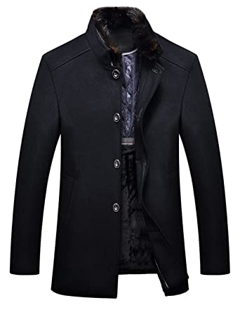 1c8d370ce6 Yeokou Men s Business Casual Winter Thick Wool Coat Jacket with Fur Collar  at Amazon Men s Clothing store