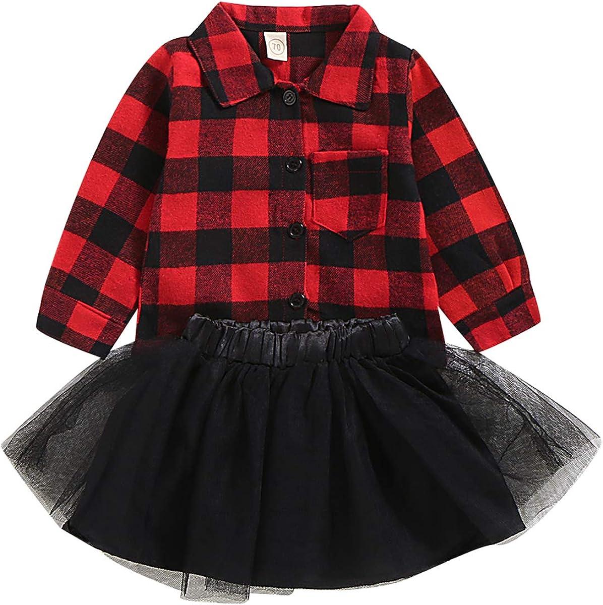 puseky 2 Piezas niños bebé niña Camisa a Cuadros roja + Falda tutú de Malla Conjunto de Trajes de Reno de Navidad: Amazon.es: Ropa y accesorios