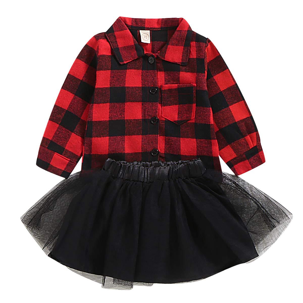 puseky 2 Piezas ni/ños beb/é ni/ña Camisa a Cuadros roja Falda tut/ú de Malla Conjunto de Trajes de Reno de Navidad