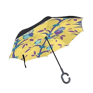 ALAZA doble capa diseño de paraguas diseño de búhos coches Reverse resistente al viento lluvia paraguas