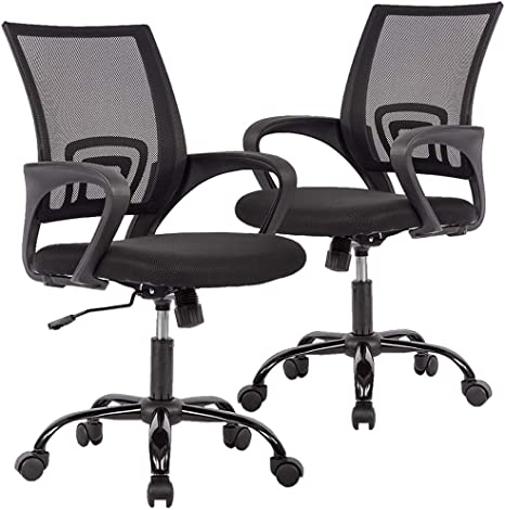Amazon Com Office Chair Desk Chair Mesh Computer Chair Back Support Modern Executive Adjustable Chair Task Rolling Swivel Chair For Women Men 2 Pack Black Furniture Decor
