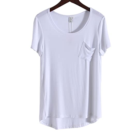 d65ebab9cd1 LuFeng Women's Casual Round Neck T-shirt Short Sleeve High Low Tunic Loose  Blouse Tops with Pocket at Amazon Women's Clothing store: