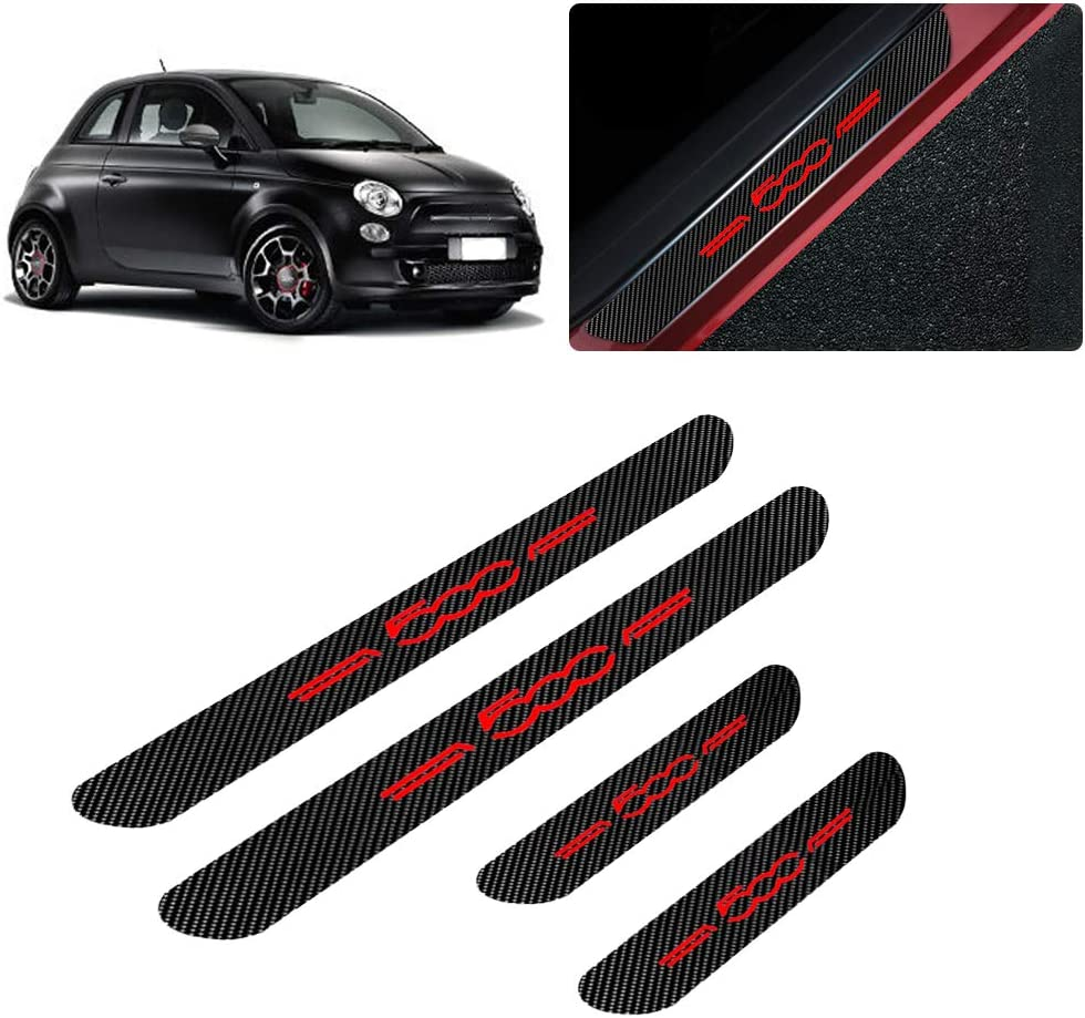 for Fiat 500 500X 500C Abarth 500L Bravo Linea Grande Punto 4D Carbon Fiber Door Sill Guard Protector Kick Plate Trim Covers Stickers with No Smoking Red 4Pcs
