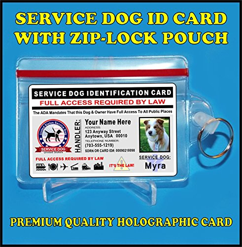 Service Dog ID Card - Holographic card - Custom with Dogs Photo and Your (Weatherproof Photo Pouch)