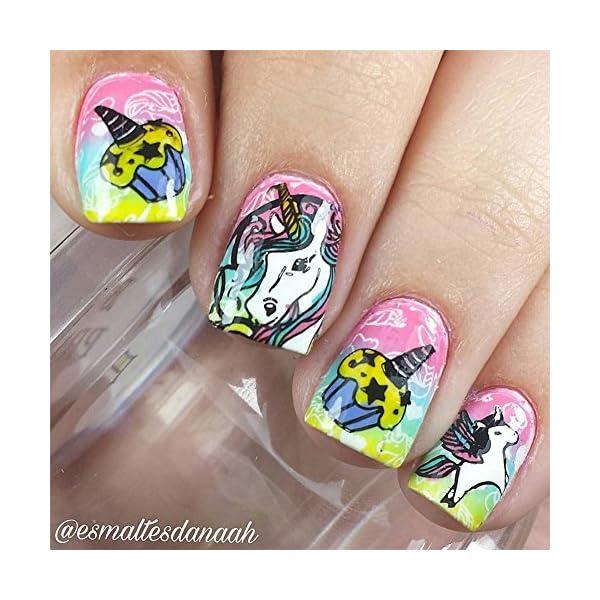 BORN PRETTY 1Pc Rectangle Stamping Plate Unicorn Pattern Manicure Nail Art Plate Harunouta L045 4