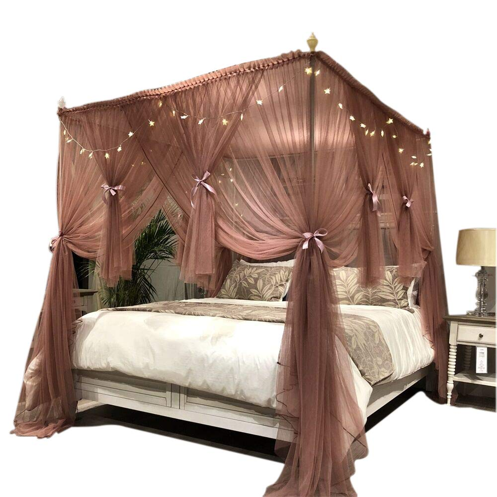 Joyreap Mosquito Bed Canopy Net - Luxury Canopy Netting - 4 Corners Post Bed Canopies - Princess Style Bedroom Decoration for Adults &Girls - Full/Queen/King (Reddish-Brown, 86'' W x 78'' L)