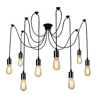 klsdmoderno vintage industrial iluminacin e bricolaje techo araa lmpara de luz cabezas de luz