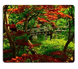 Garden Japanese Kyoto Nature Scenery Mouse Pads Customized Made to Order Support Ready 9 7/8 Inch (250mm) X 7 7/8 Inch (200mm) X 1/16 Inch (2mm) High Quality Eco Friendly Cloth with Neoprene Rubber MSD Mouse Pad Desktop Mousepad Laptop Mousepads Comfortable Computer Mouse Mat Cute Gaming Mouse pad