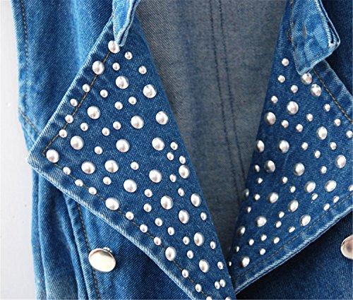e53b5b3b2a9f2c E-FAK Women Sleeveless Denim Vest Sequined Jeans Tops (XL   US ...