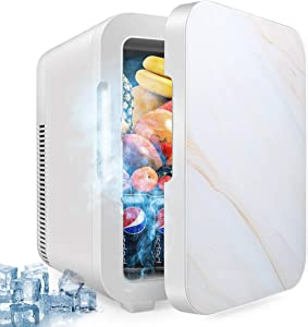 10 Liter Fridge, Compact Portable Cooler Warmer Personal Fridge Beauty Fridge Outdoor 12V 110V Car Refrigerator Cooler or Indoor for Bedroom, Office or Dorm