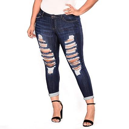MALLTY Jeans elásticos Rasgados de Mujer Tallas Grandes ...