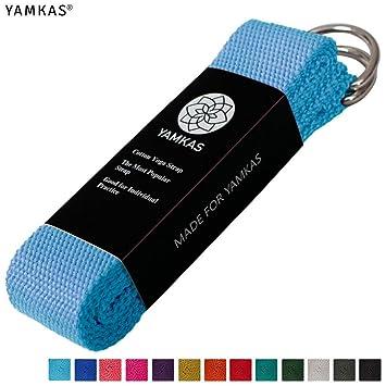 Yamkas Correa para Yoga Yoga Belt cinturón 100% de algodón con Esquinas de Metal Anillo Cierre en Diferentes Coloures Yoga Strap (Blue, 180)