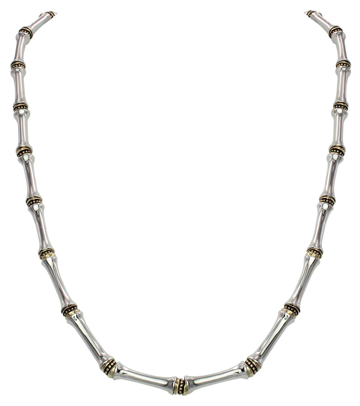 John Medeiros Canias Collection Single Row Gold and Silver Necklace with Extender 16''-18'' Made in America