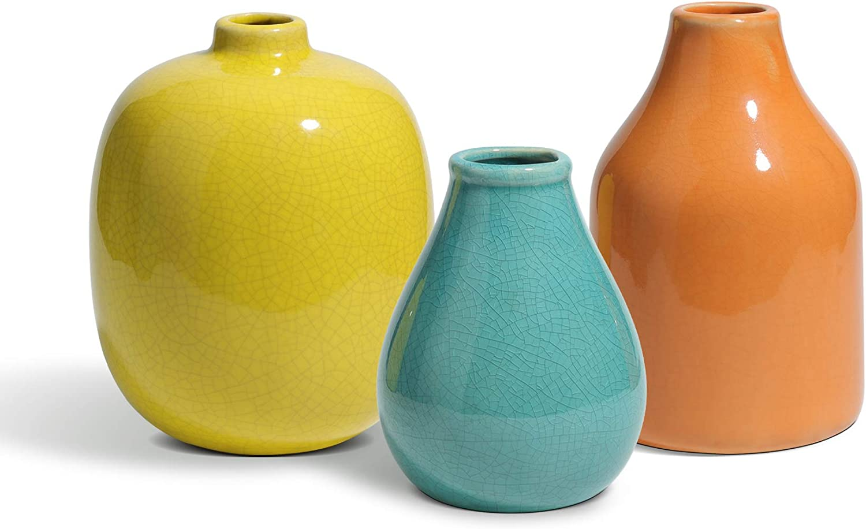 ComSaf Ceramic Flower Vase Set of 3, Small Decorative Vases, Modern Glazed Floral Vase for Home Decor Table Centerpieces, Living Room, Office, Orange Yellow Blue, Rustic Style