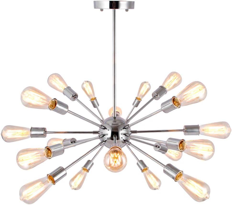 Sputnik Chrome Metal 18 Light Chandelier