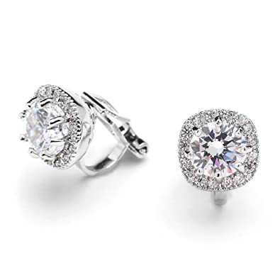 on round dp cz pave diamond amazon mariell cushion com earrings zirconia shape stud cubic clip halo nonpieced