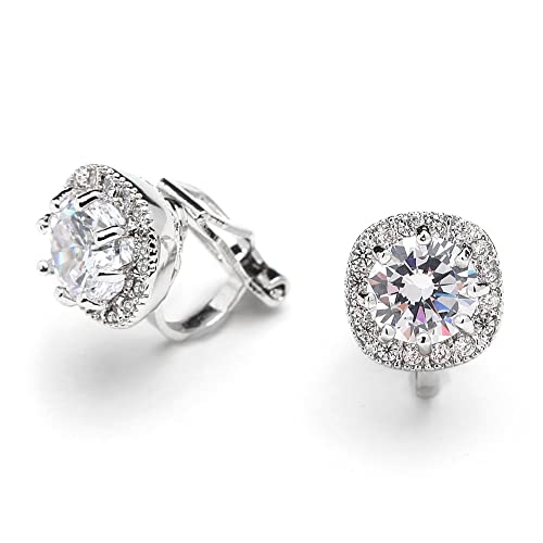 8ed3e0e93c531 Mariell Cubic Zirconia CZ Clip On Stud Earrings - 10mm Cushion Shape Pave  Halo Nonpieced Round Solitaires