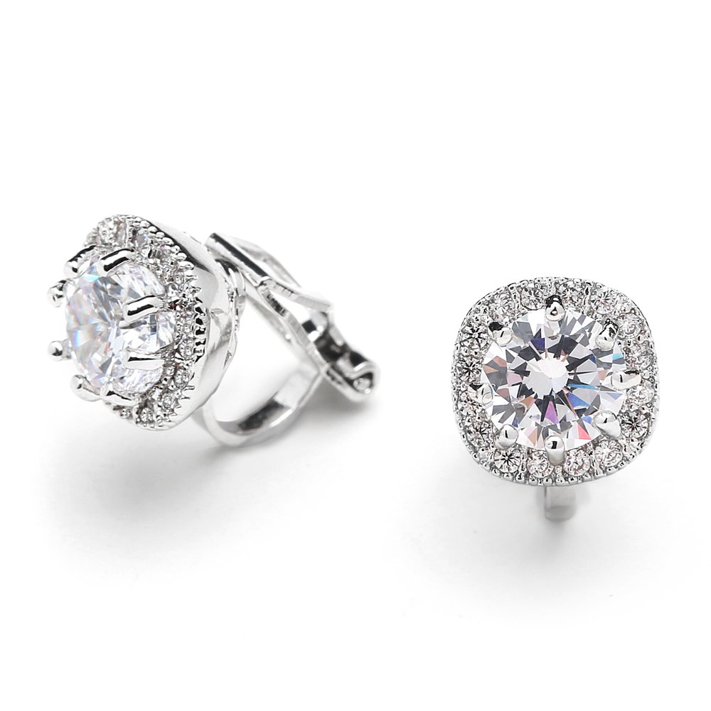Mariell Cubic Zirconia CZ Clip On Stud Earrings - 10mm Cushion Shape Pave Halo Nonpieced Round Solitaires