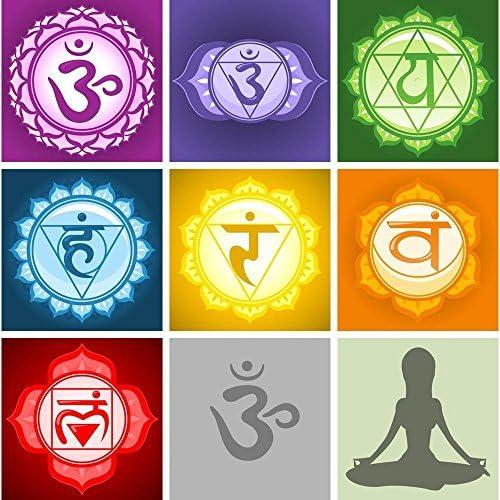 Pitaara Box Yoga Chakras Symbols Peel & Stick Vinyl Wall Sticker 24 X  24 2Inch
