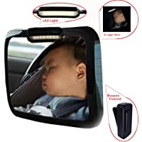 Baby Mirror for Car – Safely Monitor Infant Child in Rear Facing Car Seat,LED Remote Control,Adjustable Acrylic 360°for Backseat – Check Baby in Dark