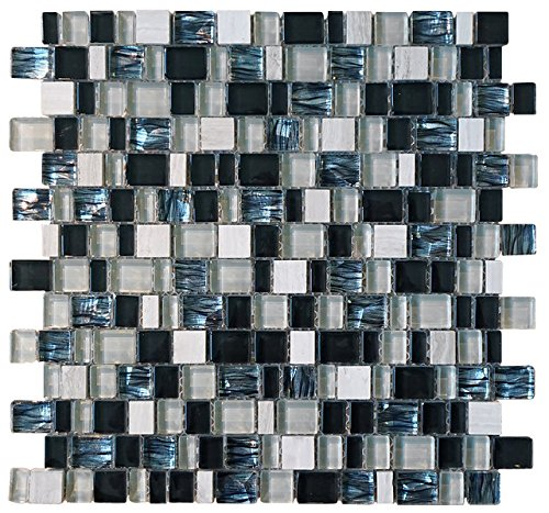 White, Black and Blue Random Brick Cubes Pattern Glass Mosaic Tiles for Bathroom and Kitchen Walls Kitchen Backsplashes