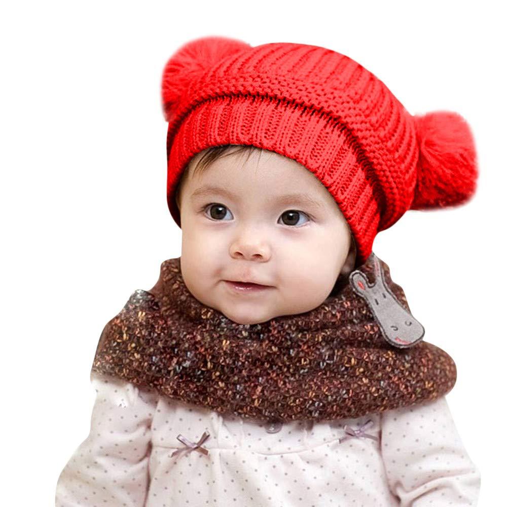 Kingko ® Toddlers Warm Beanie Hat Girl Boy Winter Knit Fleece Cap Cute Thick Windproof Bubble Cashmere Pom Crochet Cap Ski Snowboard Outdoor Head Wear Protection Children's Gifts 0-2 Years O KINY-XP0647