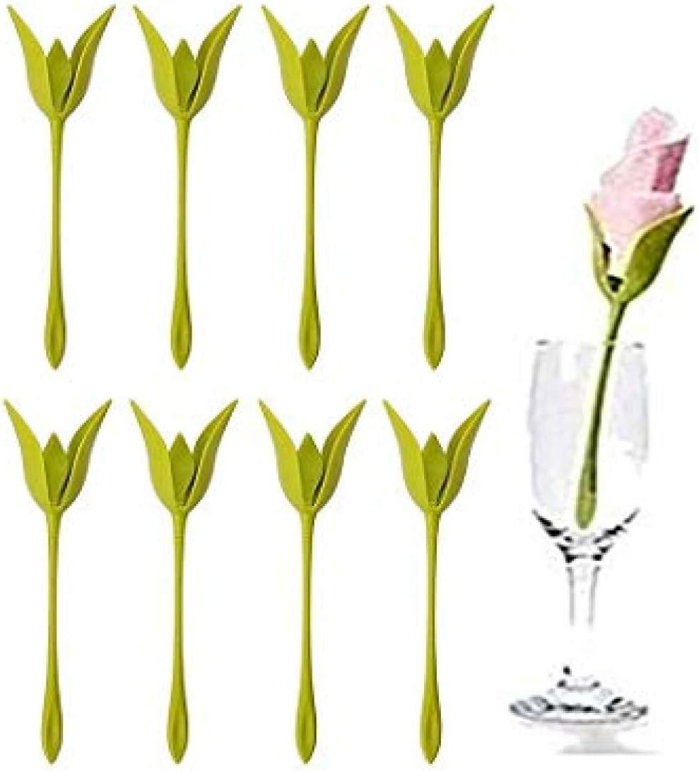 kreative Bl/üten-Serviettenhalter f/ür Tische Set von 6 gr/ünen Blumen-Serviettenhaltern f/ür Tischdekoration Zuhause Party Serviettenringe xinyus Original warme